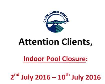 Indoor Pool Closure July 2016