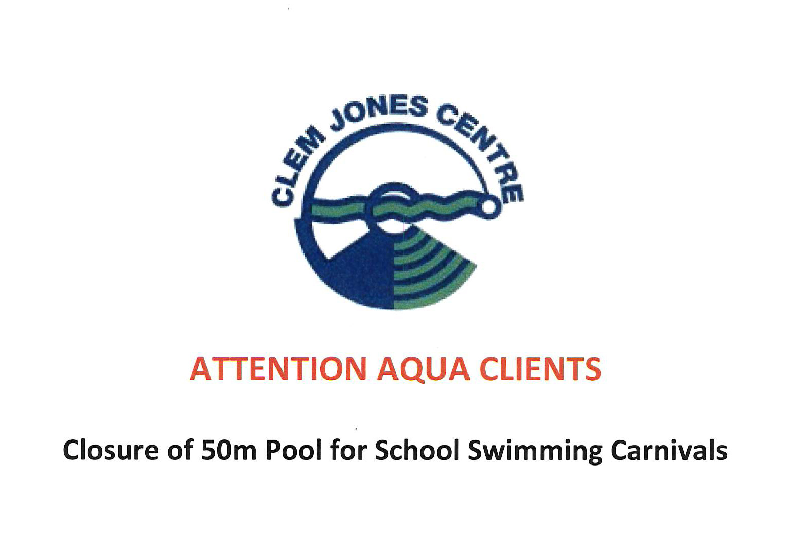 School Carnival Pool Closure for School Carnivals Feb 2018